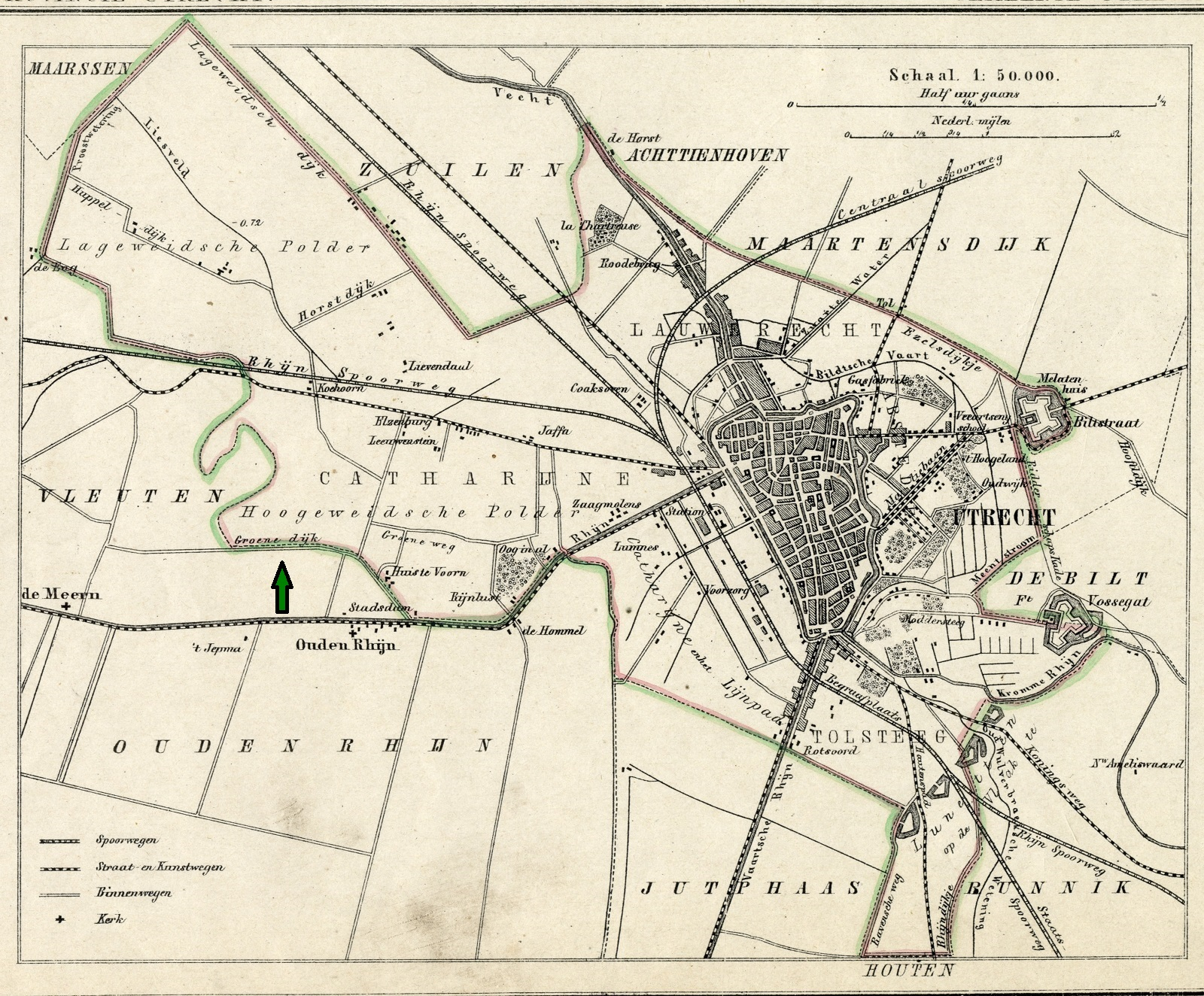Kaart gemeente Utrecht 1865 (jpeg groot met pijl)