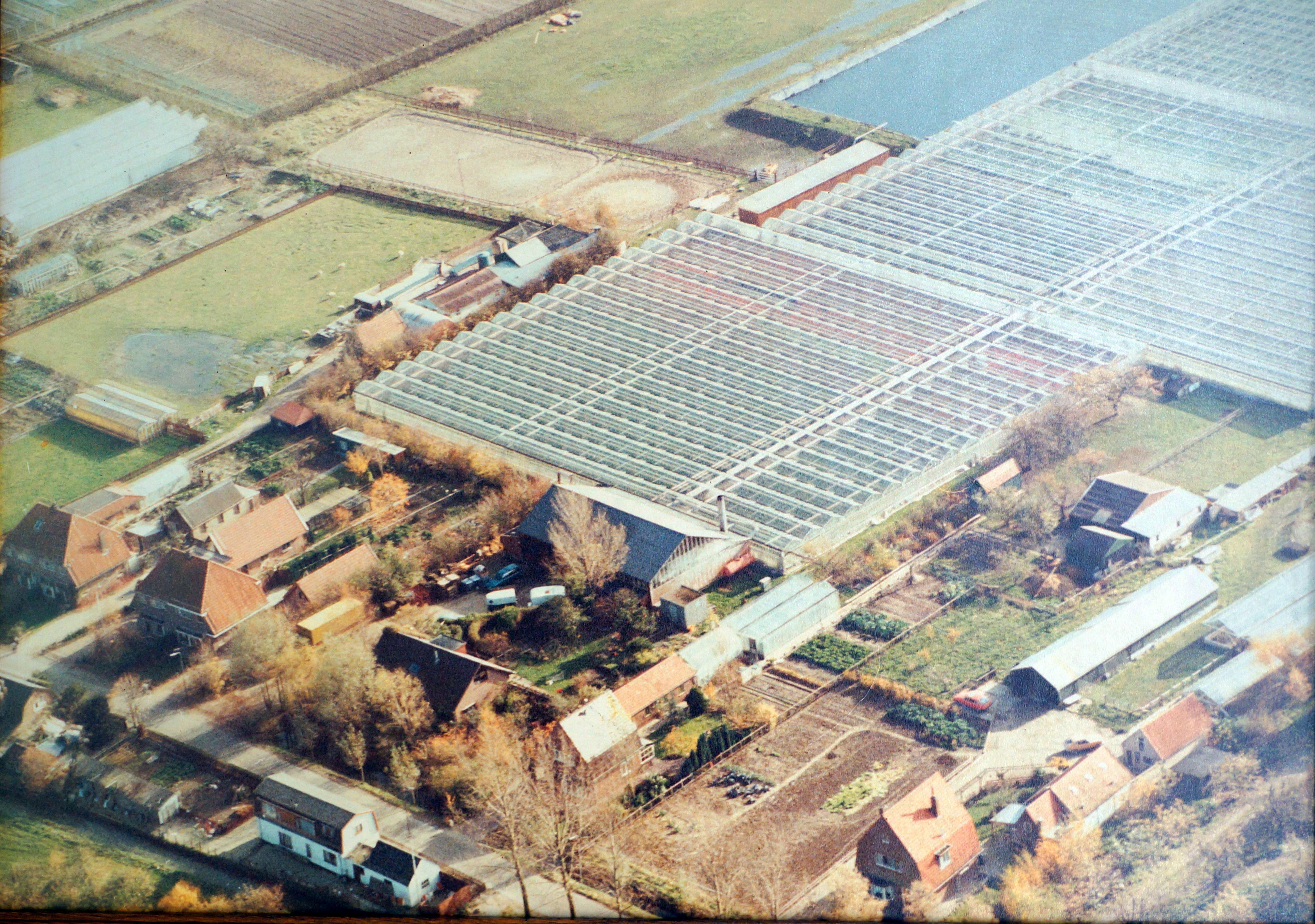 Groenedijk 35 (rechtsonder op de foto) in 1995