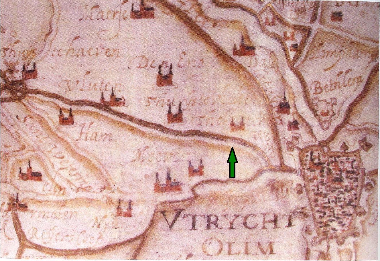 Kaart westkant Utrecht 1580 met pijl
